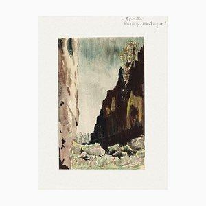 Valley Aquarell auf Papier von Pierre Laurent Brenot