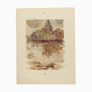 Landscape Watercolor on Paper by Pierre Laurent Brenot