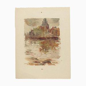Landschaftliches Aquarell auf Papier von Pierre Laurent Brenot