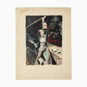 Interior with Woman Aquarell auf Papier von Pierre Laurent Brenot