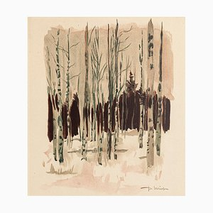 Trees Watercolor on Paper by Pierre Laurent Brenot