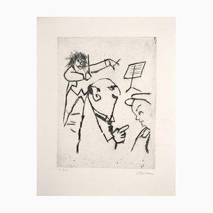 Violinist Print by Mino Maccari, 1960s
