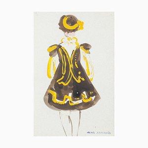 Kostüm Mischtechnik auf Papier von Alkis Matheos