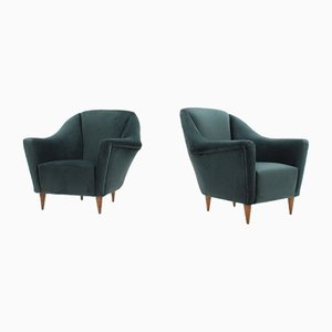 Velvet Armchairs by Ico Luisa Parisi for Ariberto Colombo, 1950s, Set of 2