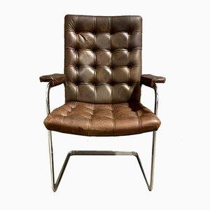 Brown Leather Desk Chair by Trix & Robert Haussmann for de Sede, 1950s