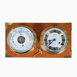 Mid-Century Ship Clock & Barometer on Teak Frame from Schatz