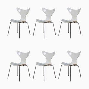 Modell 3108 Lily Esszimmerstühle von Arne Jacobsen für Fritz Hansen, 1976, 6er Set