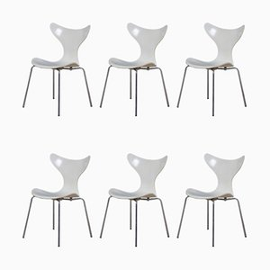 Sedie da pranzo modello 3108 Lily di Arne Jacobsen per Fritz Hansen, 1976, set di 6