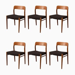Model 75 Dining Chairs by Niels Otto Møller, 1950s, Set of 6