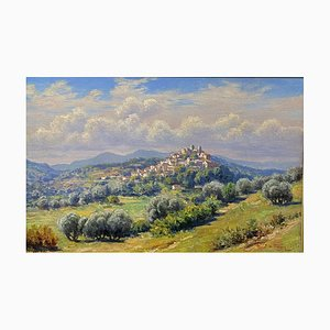 Antique View of the Village of Biot On the French Riviera Painting by Adelin Charles Morel Tanguy