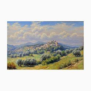 Vue Antique du Village de Biot sur la Côte d'Azur par Adelin Charles Morel Tanguy