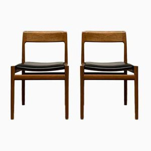 Teak & Leather Dining Chairs by Johannes Nørgaard for Nørgaards Møbelfabrik, 1960s, Set of 2