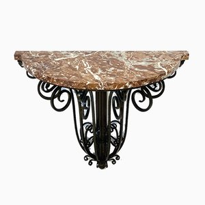 Art Deco Wrought Iron and Marble Console Table, 1930s