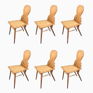 Solid Oak Chalet Style Dining Chairs, 1960s, Set of 6