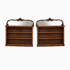Antique Victorian Burr Walnut Mirrored Bookcases, Set of 2