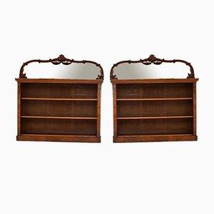 Librerías antiguas de madera de raíz de nogal con espejo. Juego de 2