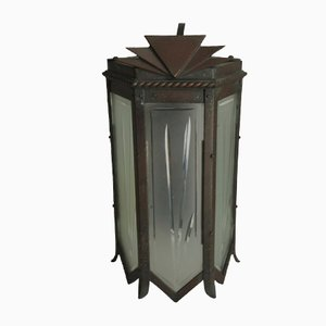 Art Deco Wall Sconce With Graduated Geometric Detailing & Frosted Panes of Etched Glass