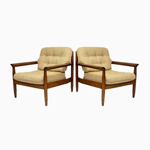 Mid-Century Scandinavian Cherry Wood Lounge Chairs, Set of 2