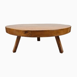 Rustic Robust Solid Oak Round Tripod Coffee Table, 1960s