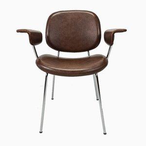 Bauhaus Leather Desk Armchair with a Chrome-Plated Tubular Frame, 1960s