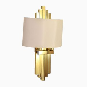 Hollywood Regency Brass Sconce by Willy Rizzo for Lumica, 1970s