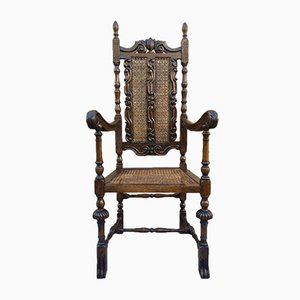 Louis XVI Style French Carved Walnut Armchair with Reed Seats