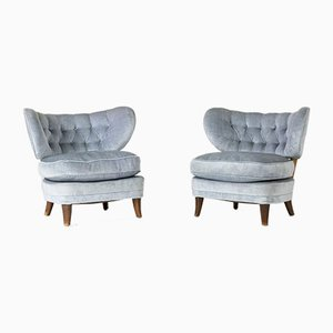 Velvet Lounge Chairs by Otto Schulz for Boet, 1940s, Set of 2