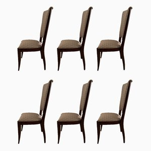 French Art Deco Dining Chairs, 1950s, Set of 6
