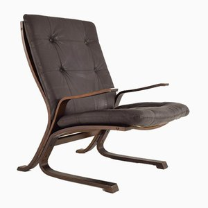 Scandinavian Wooden Chair In Curved Brown Leather, 1970s