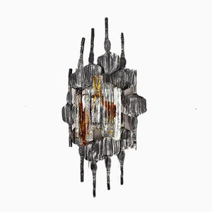 Iron and Murano Brutalist Sconce from Tom Ahlström & Hans, 1960s