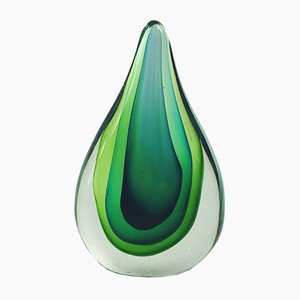 Mid-Century Murano Glass Sommerso Sculpture by Flavio Poli
