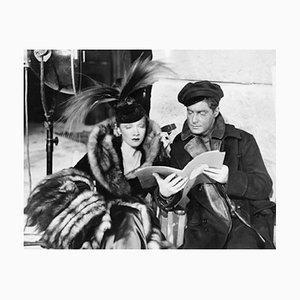 Marlene Dietrich & Robert Donat On Set Archival Pigment Print Framed in Black by Everett Collection