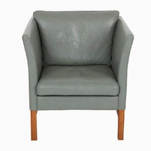 Green Leather & Cherry Wood Armchair by Svend Skipper for Skipper, 1989