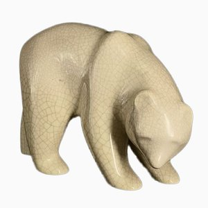 Polar Bear Earthenware Figure from Emaux de Longwy, 1980s