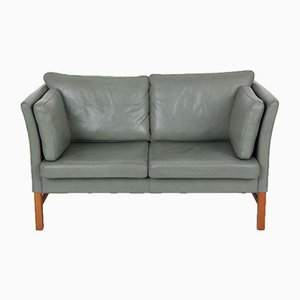 2-Seater Leather & Cherry Wood Sofa by Svend Skipper for Skipper, 1989