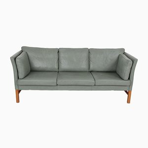 3-Seater Danish Green Leather Sofa by Svend Skipper for Skipper, 1989