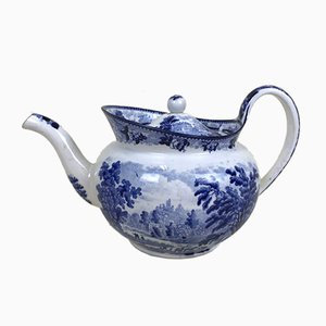 Victorian Blue and White Earthenware Boat Shaped Teapot, 1850s