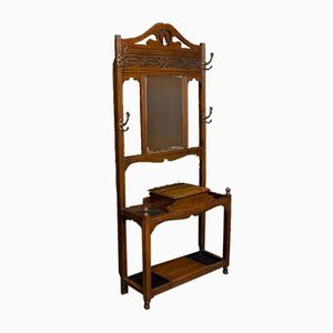 Antique Art Nouveau Style Walnut Rack