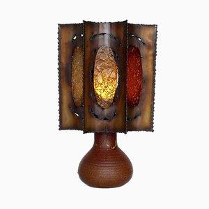 Lampe de Bureau Brutaliste en Céramique et en Cuivre de Accolay, France, 1960s