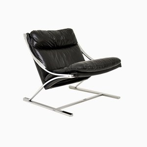 Vintage Leather & Chrome Zeta Chair by Paul Tuttle for Strassle, 1960s