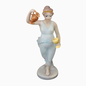 Vestal Ceramic Figure With Jug and Goblet by Giovanni Ronzan for Ronzan, 1940s