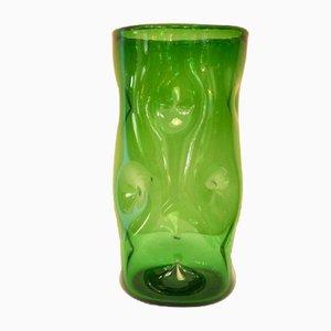 Green Glass Vase from Vetreria Etrusca, 1940s
