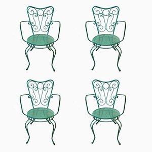 Mid-Century Iron Garden Chairs, Set of 4