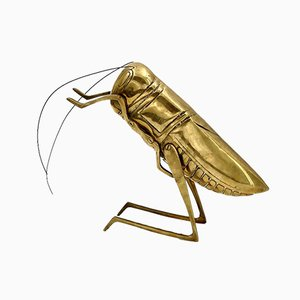 Vintage Brass Cricket Figure