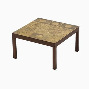 Decorative Etched Coffee Table by Willy Daro, 1970s