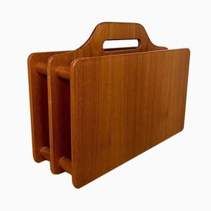 Danish Solid Teak Magazine Rack, 1960s