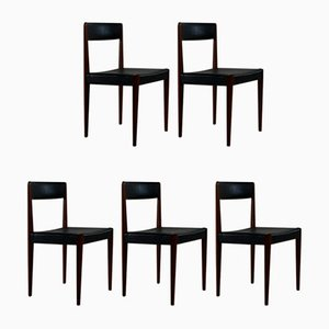 Danish Teak & Black Leather Dining Chairs by Aage Christiansen for Fritz Hansen, 1960s, Set of 5