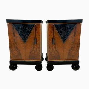 Art Deco Italian Walnut Nightstands, 1930s Set of 2