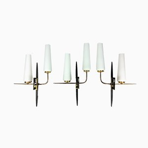 Double Wall Sconces by Arlus, 1960s, Set of 3