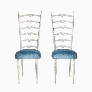 White High Back Side Chairs by Gio Ponti, 1950s, Set of 2